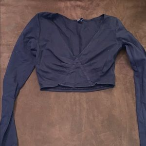 Navy Long Sleeve Cropped Top